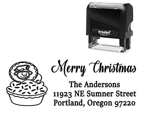 Custom Self Inking Return Mail Address Christmas Stamp With Snowman On Baking Image