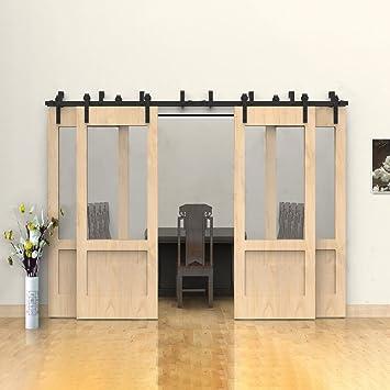 Hahaemall - Kit de rodillo de doble pista de 4 puertas para 4 puertas, diseño vintage de interior de 45,72 cm: Amazon.es: Bricolaje y herramientas