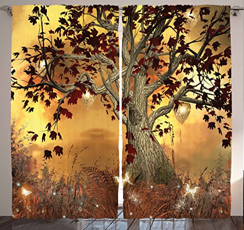 Mystical Tree Decor Curtain by Ambesonne, Old Twisted Tree and Bright Butterflies Mystic Picture, Window Drapes 2 Panel Set for Living Room Bedroom, 108 X 84 Inches, Brown Burgundy and Yellow
