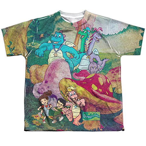 Dragon Tales Playin in Mushroom Meadow Boys Youth Front/Back Print T-Shirt Tee