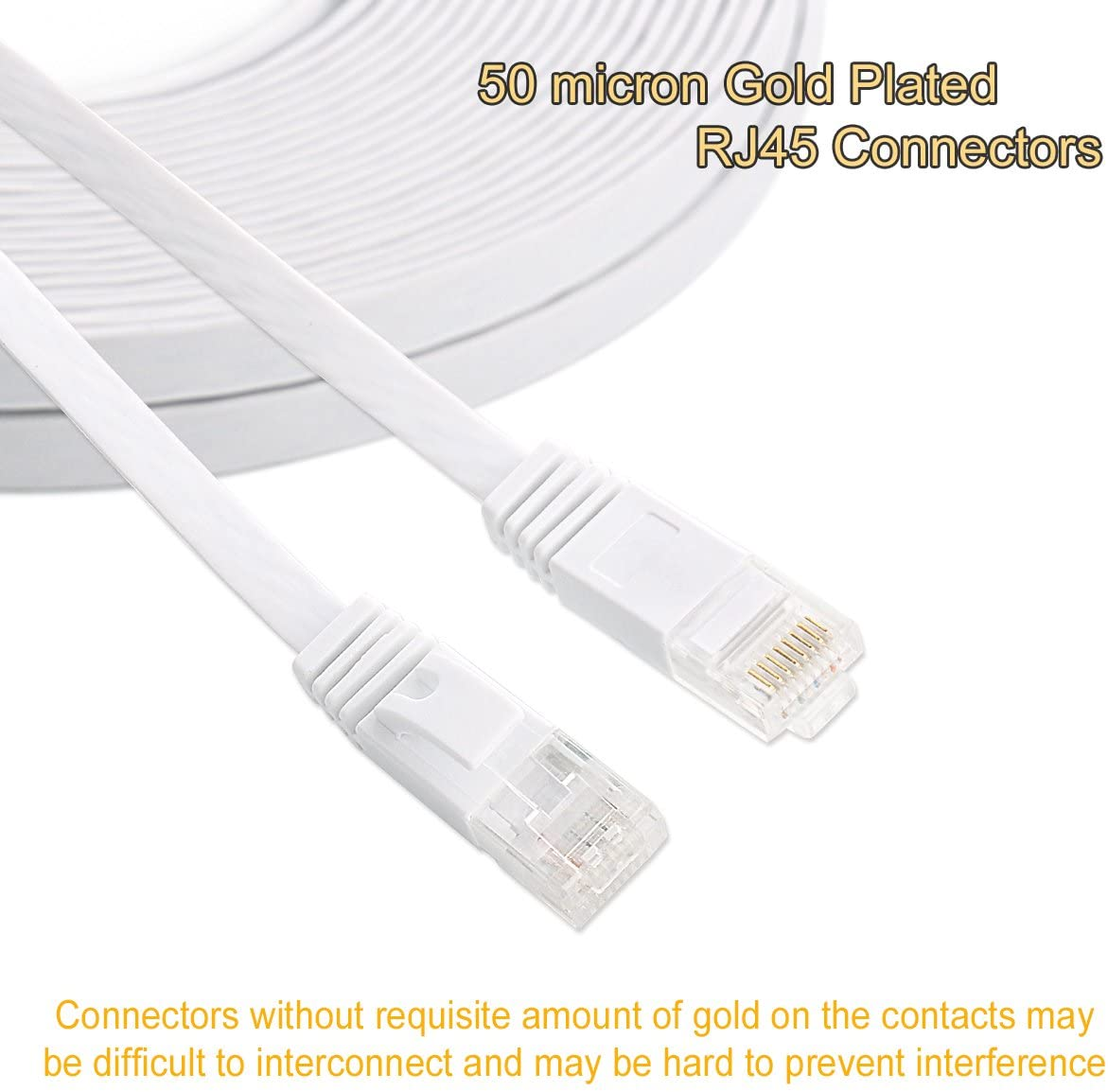 Cat 6 Ethernet Cable 25 ft White Flat - Solid Internet Network Lan patch cord – Cat6 High Speed Computer wire With clips & Rj45 Connectors for Router, modem, PS, Xbox– faster than Cat5e/Cat5 - 25 feet: Electronics
