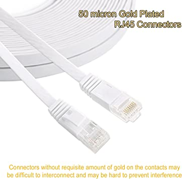 10PCS Flat CAT7 10Gbps 600MHz RJ45 Ethernet Lan Cable Cord Wire-6FT /& 10FT-US