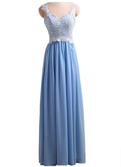 Callmelady Long Chiffon Prom Dresses Lace Appliqued Maxi Gowns For Women With Straps (Blue,