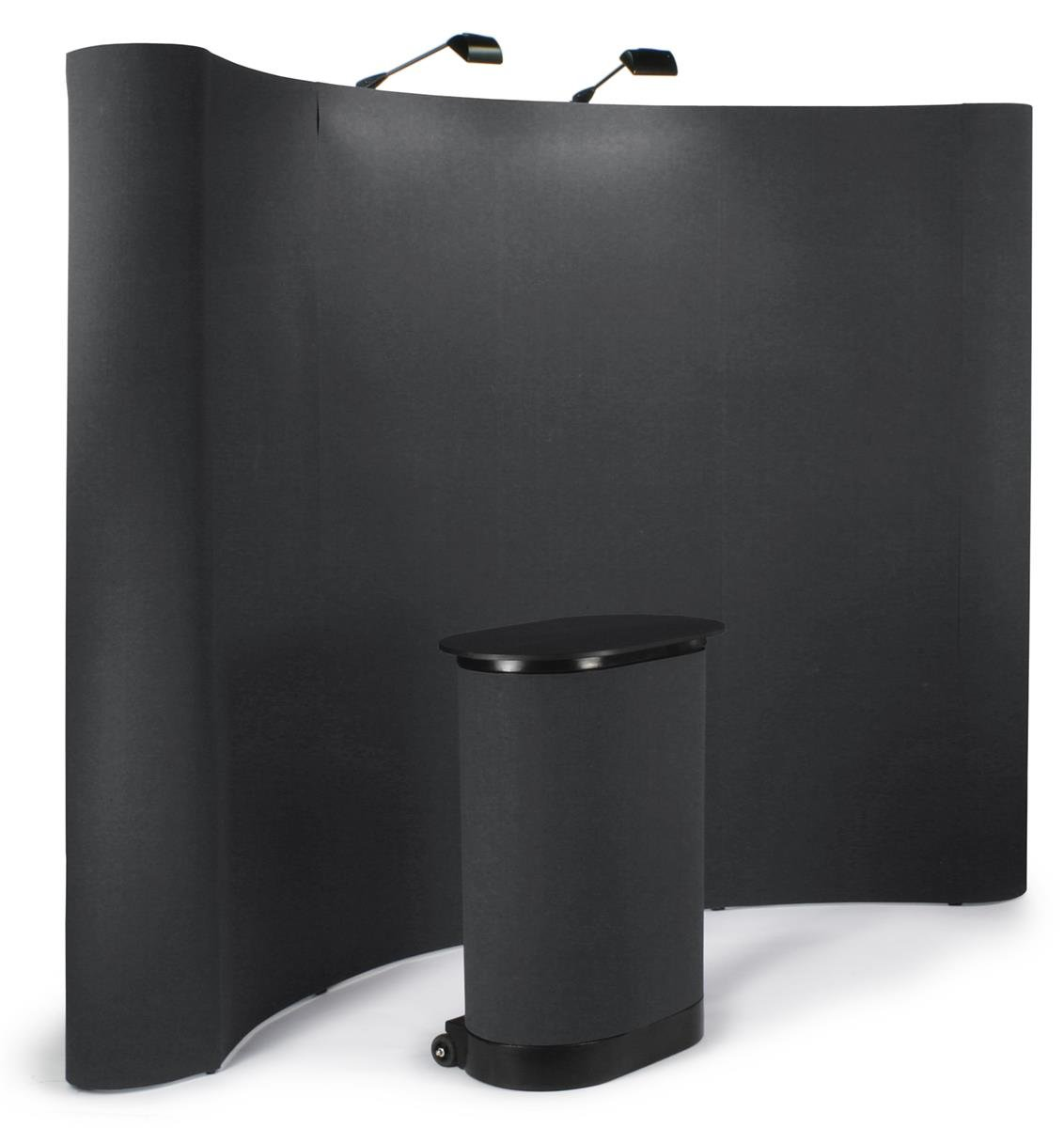 Displays2go 10-Feet Curved Pop-Up Trade Show Portable Display Booth with Podium Travel Case - Black (TEPUVF10BK)