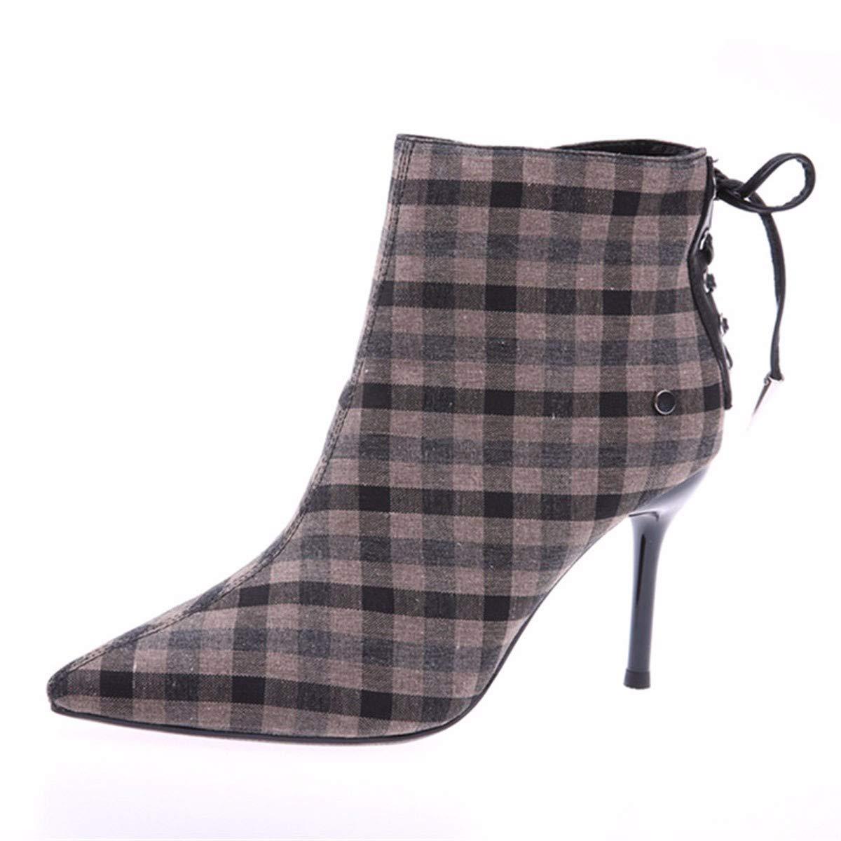 GTVERNH Frauen Schuhe/Schuhe Herbst Und Winter England Sagte Kontrollen Farbabstimmung High Heels 9Cm High Heels Pumps Stiefel Geschnürt Martin