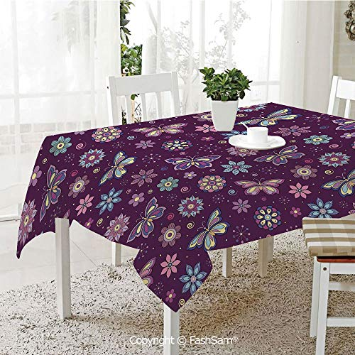 AmaUncle 3D Print Table Cloths Cover Vortex Shapes with Polka Dots Background Flower Pattern Colorful Animal Design Decorative Table Protectors for Family Dinners (W55 xL72) -