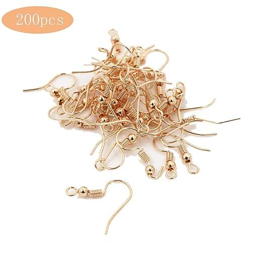 200 piezas de aretes de alambre con bola y bobina KC tono dorado hipoalerg/énico pescado pendientes ganchos para bricolaje joyer/ía hindings fabricaci/ón c8550