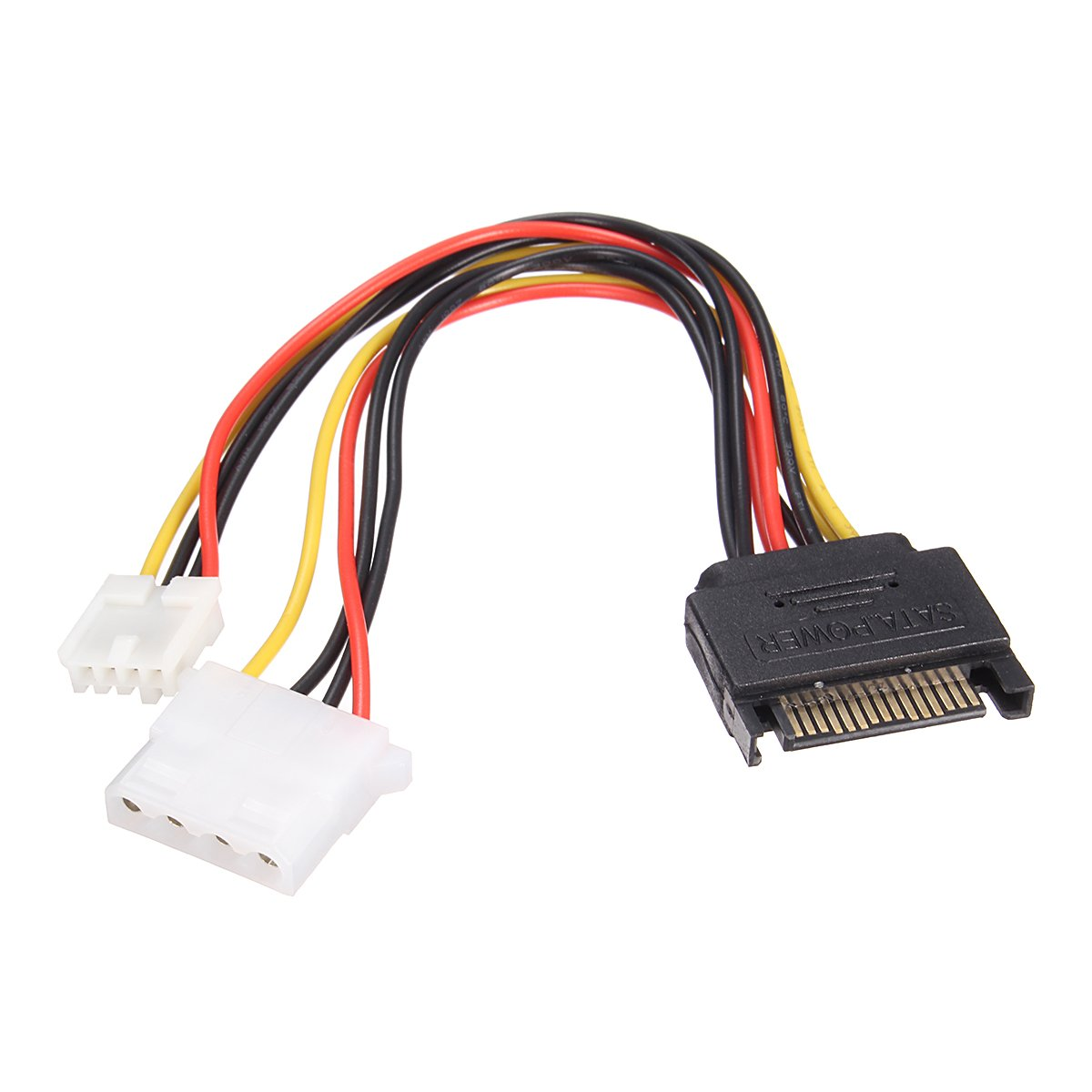 Calvas 5 Pin SATA Male to IDE Large 4 Pin Small 4 Pin Power Cable