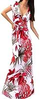 YUNY Women Deep V-neck Print Flower Short Sleeve Sexy Maxi Dress