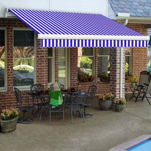 Awntech 20-Feet Maui-LX Right Motor with Remote Retractable Acrylic Awning, 120-Inch Projection, Blue/White ()