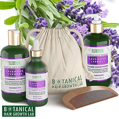 Botanical Hair Growth Lab Anti Hair Loss Alopecia Postpartum DHT Blocker Scalp Treatment Shampoo and Conditioner 3 Pc Value Set Lavender – Cypress Hair Growth Botanical For Hair Thinning Prevention
