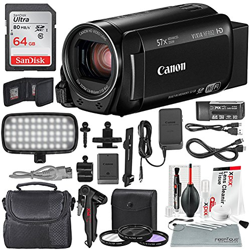 Canon Vixia HF R82 HD Camcorder Deluxe Bundle W/ 64 GB SD Card, Camcorder Case, 3 Pc. Filter Kit, LED Light Kit and XPIX Cleaning Accessories by Photo Savings