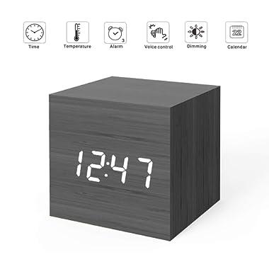MiCar Digital Alarm Clock, Wood LED Light Mini Modern Cube Desk Alarm Clock Displays Time Date Temperature Kids, Bedroom, Home, Dormitory, Travel (Black)