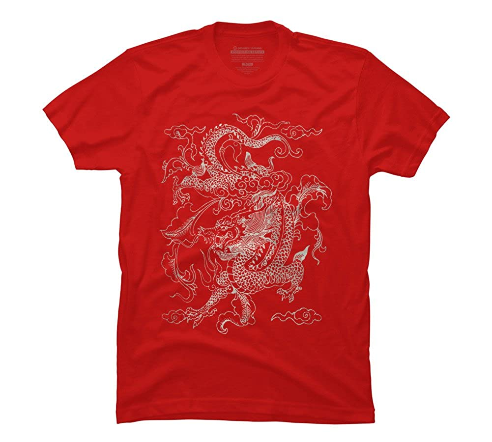 Vintage Chinese Dragon Batik Mens Graphic T Shirt Design
