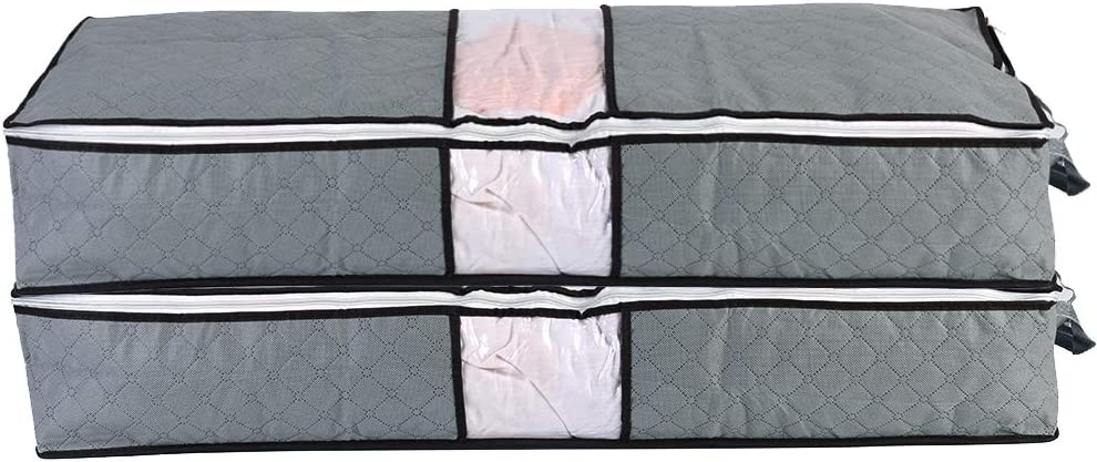 ComboCube Jumbo Zippered Under The Bed Organizers for King Comforter, Pillow, Quilt, Bedding, Clothes, Blanket with Large Clear Window & Carry Handles Space Saver