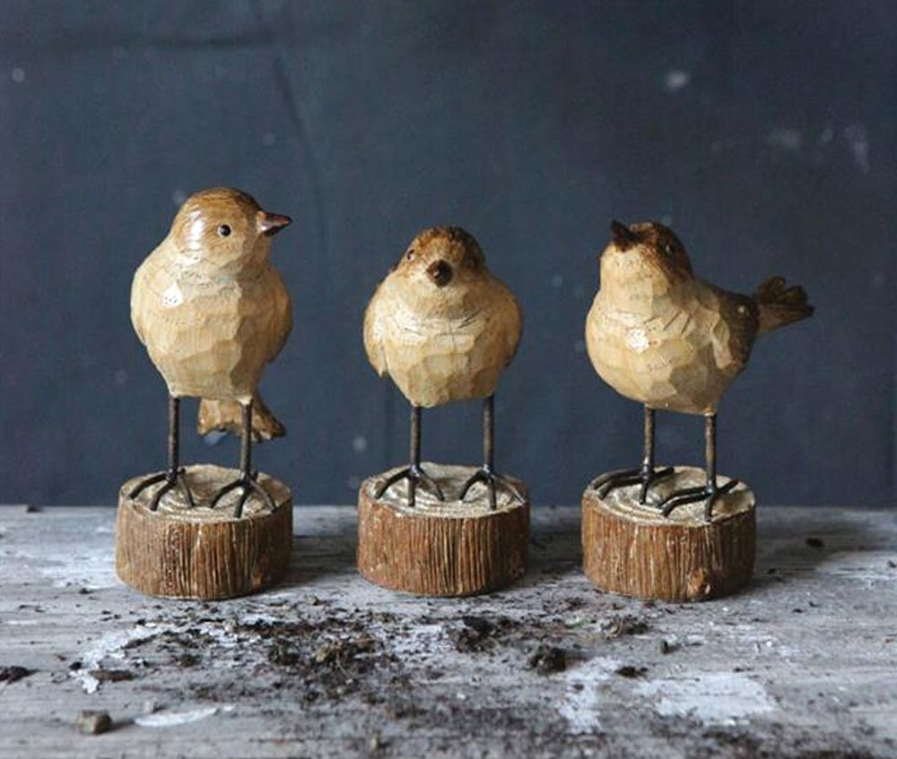 Creative Co-op Rustic Carved Wood-Look Resin Birds on Stump Bases – Set of 3, Tan, 4.5 high x 4 long
