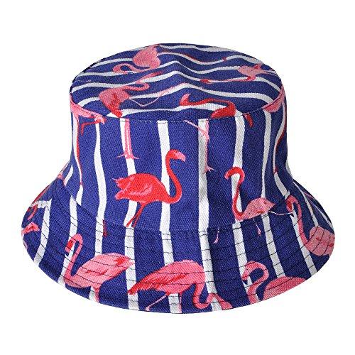 ZLYC Unisex Cute Animal Print Travel Bucket Hat Summer Fisherman Cap (Flamingos,Stripe,Blue) ()