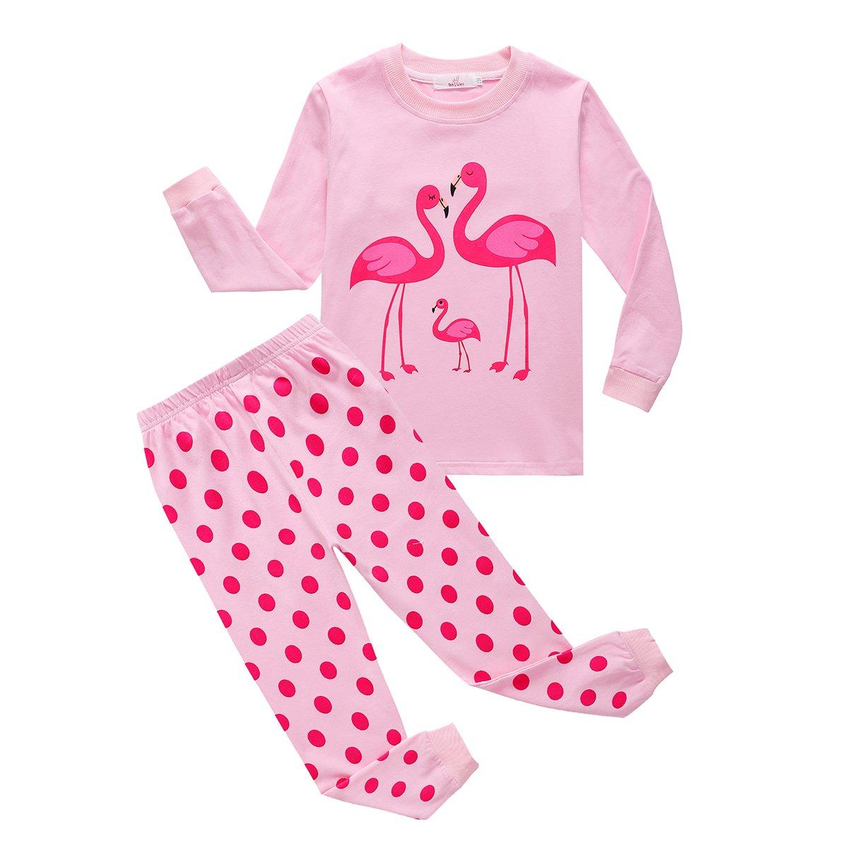 BOBORA Baby Girls Pyjamas Set Kids Children Giraffe Mermaid Flamingo Cotton Sleepwear Pjs Set Clothing for 1-8Years BON-N-2174