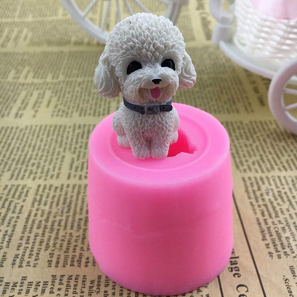 Runloo Poodle Dog Silicone Mold Mini Dog Fondant Cake Decorating Tools Chocolate Candy Moulds