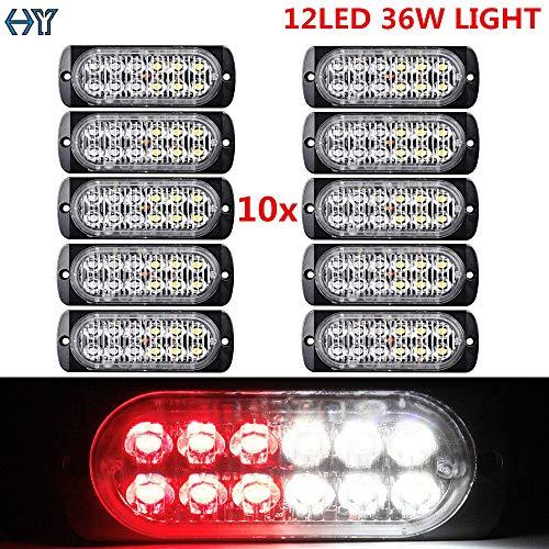 - FidgetGear 10x 12 LED Car Emergency Hazard Warning Double Strobe Light Bar Grill Red White