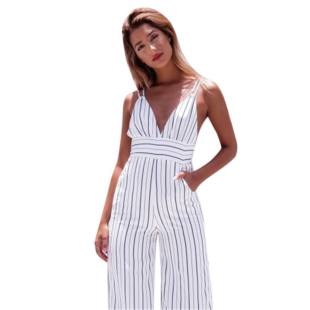 Nevera Women Spaghetti Strap Sleeveless Wide Leg Long Pants Striped Casual Jumpsuit Romper White