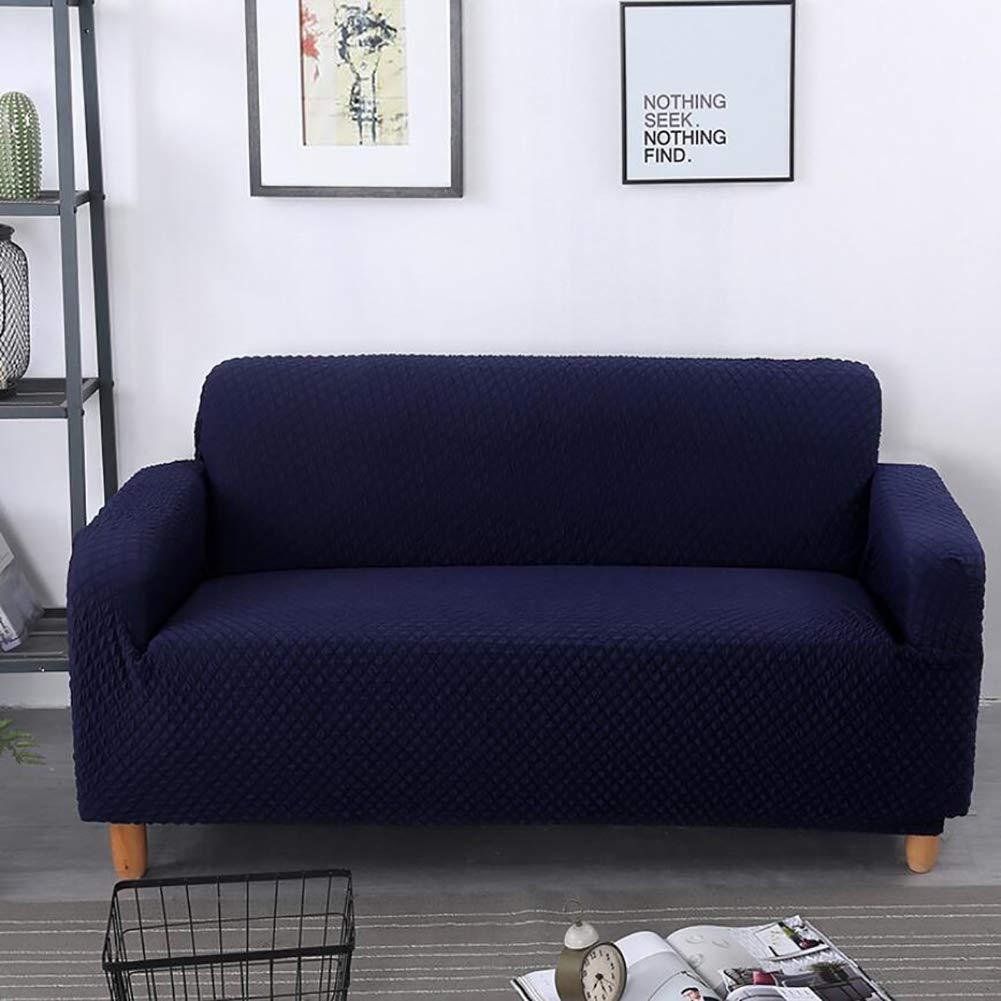 QY&LA All-Inclusive Stretch Sofa Cover, Slip Resistant Stilvoll Furniture Protector Cover, Knit Plaid All Inclusive Sofa Cover-Navy Blue Sofa by QY&LA