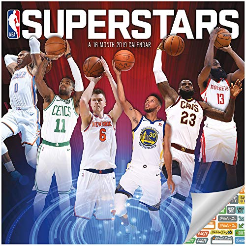 NBA Superstars Calendar 2019 Set - Deluxe 2019 NBA Superstars Wall Calendar with Over 100 Calendar Stickers (NBA Superstars Gifts, Office Supplies)