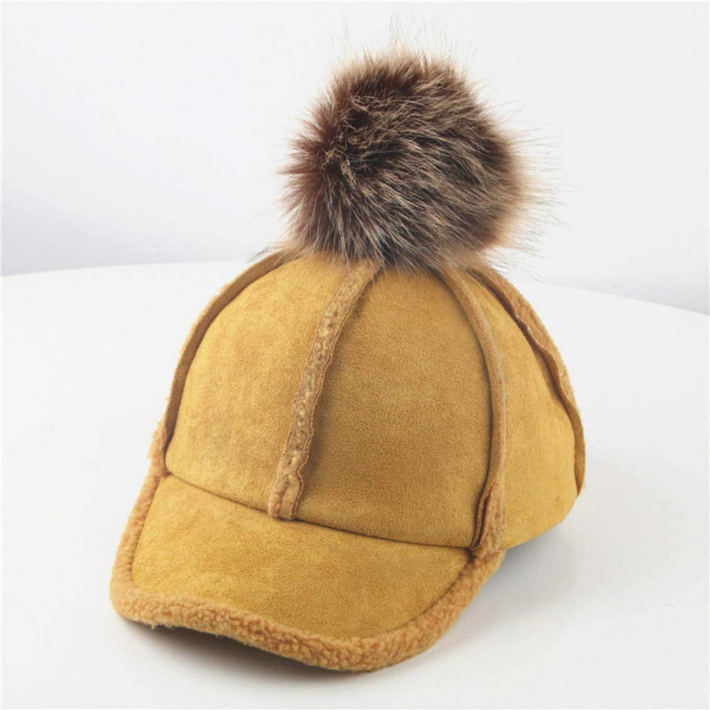 Kids Boy Girl Baseball Cap Reversible Winter Warm Thick Fur Hairball Bongrace Cotton Peak Hat 2-8T