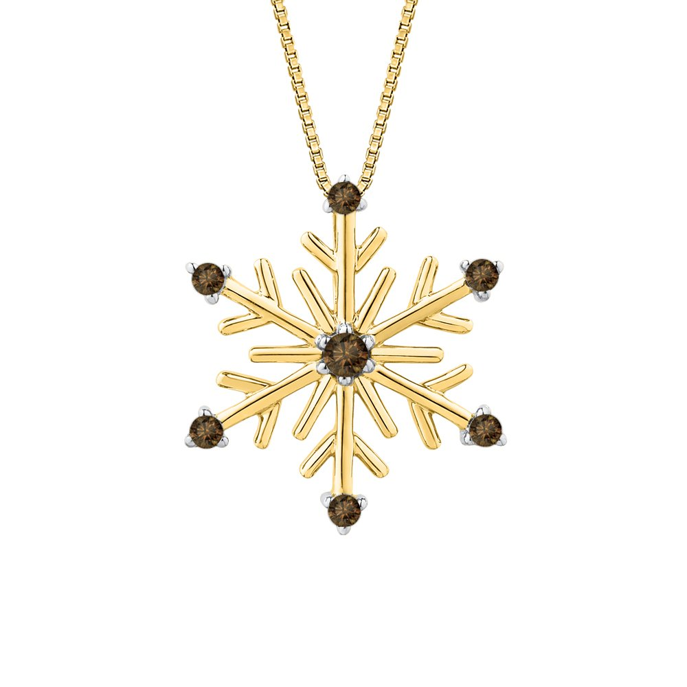 KATARINA Cognac DiamondSnow Flake Pendant Necklace in 14K Gold 1//10 cttw