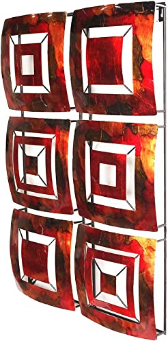 Heather Ann Creations 6 Geometric Squares Panel Modern Metal Hanging Wall Sculpture, 16.2 H x 24.8 W, Copper Red Gold