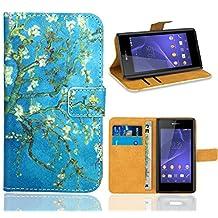 Sony Xperia E3 Case, FoneExpert® Premium Leather Flip Wallet Bag Case Cover For Sony Xperia E3