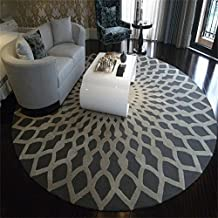 TOYM US Scandinavian Fashion Black And White Round Carpet Living Room Coffee Table Large Carpet Bedroom Study Room Room Carpet ( Color : Gray , Size : Diameter 120cm )