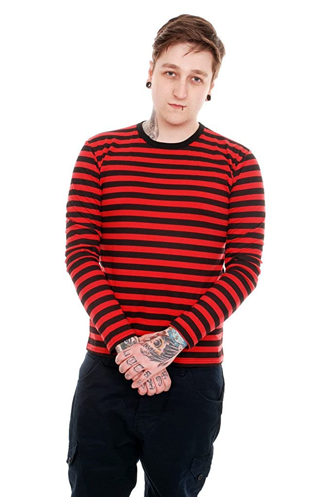 66fc86e834 Amazon.com: Mens Indie Retro 60's Black & Red Striped Long Sleeve T Shirt:  Clothing