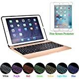 PinPle iPad Pro 9.7 iPad Air 2 Keyboard Case 7 Color LED Backlit Aluminum Bluetooth Keybaord Cover for iPad Air 2 with Tempered Glass Screen Protector & Bulit-in 2800mAh Emergency Power (Gold)