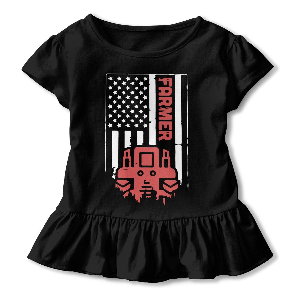 2-6T Cute Blouse Clothes with Falbala Zi7J9q-0 Short Sleeve Tractor /& American Flag Shirts for Girls