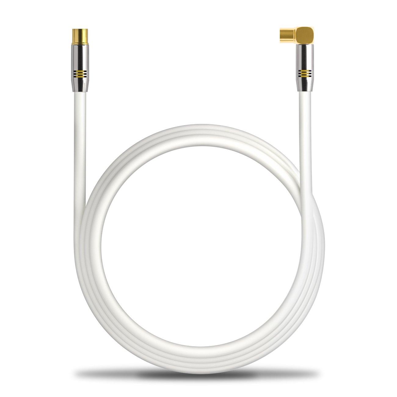 Innesto antenna Bianco Spina di metallo deleyCON TV Cavo antenna 2m 1x angolato//1x diritta 100dB 4K UltraHD FullHD HDTV cavo coassiale