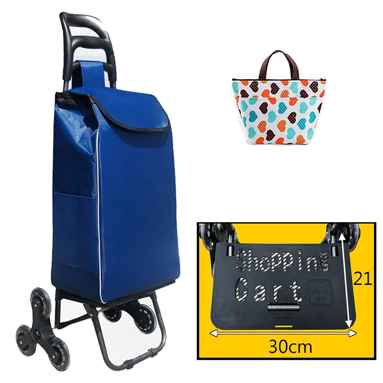 [XINXIKEJI]ショッピングカート ショッピングキャリー 折りたたみ 保温バッグ贈り かぎ付き/3輪/30L/耐荷重35kg/階段登り/静音 楽々 老人車 母の日/買い物/ギフト/バーベキュー/ピクニック 青い B07C1QKSQ2