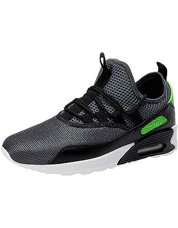 JiaMeng Hombre Zapatillas de Senderismo Deportivas Aire Libre y Deportes Zapatos Planos de Malla Resistente al