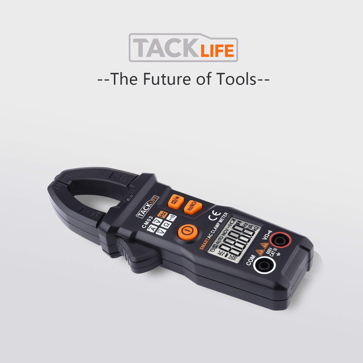 TACKLIFE Multimeter CM03 Auto-ID//Range RMS 6000 Counts Clamp Meter AC//DC Voltage AC Current Frequency Multi Testers with NCV Function LCD Backlight and Data Retention Resistance
