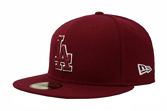 New Era 59Fifty Men s Hat Los Angeles Dodgers Burgundy Fitted Headwear Cap  (6 7  a9febe18650f