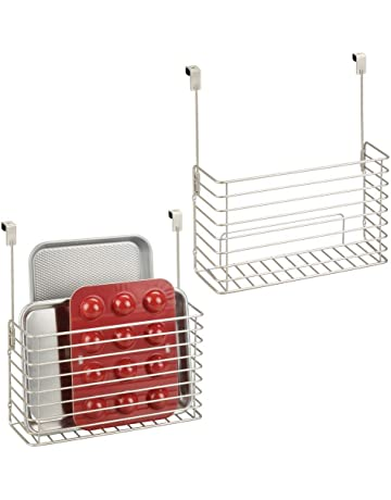mDesign Metal Over Cabinet Kitchen Storage Organizer Holder or Basket - Hang Over Cabinet Doors in