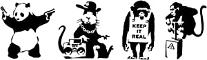 Panda with Guns, Gangsta Rat, Keep it Real, Monkey Detonator Decals Black
