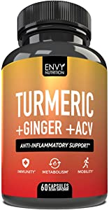 Turmeric and Ginger with Apple Cider Vinegar - Anti-Inflammatory Support - Boost Immunity, Metabolism, and Mobility with 95% Curcuminoids - Bioperine & Curcumin for Enhanced Absorption - 60 Capsules