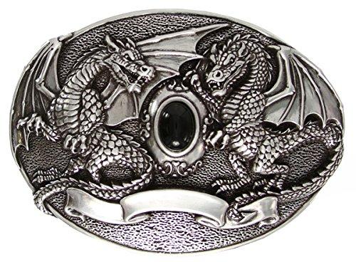Black Gem Twin Dragon Belt Buckle