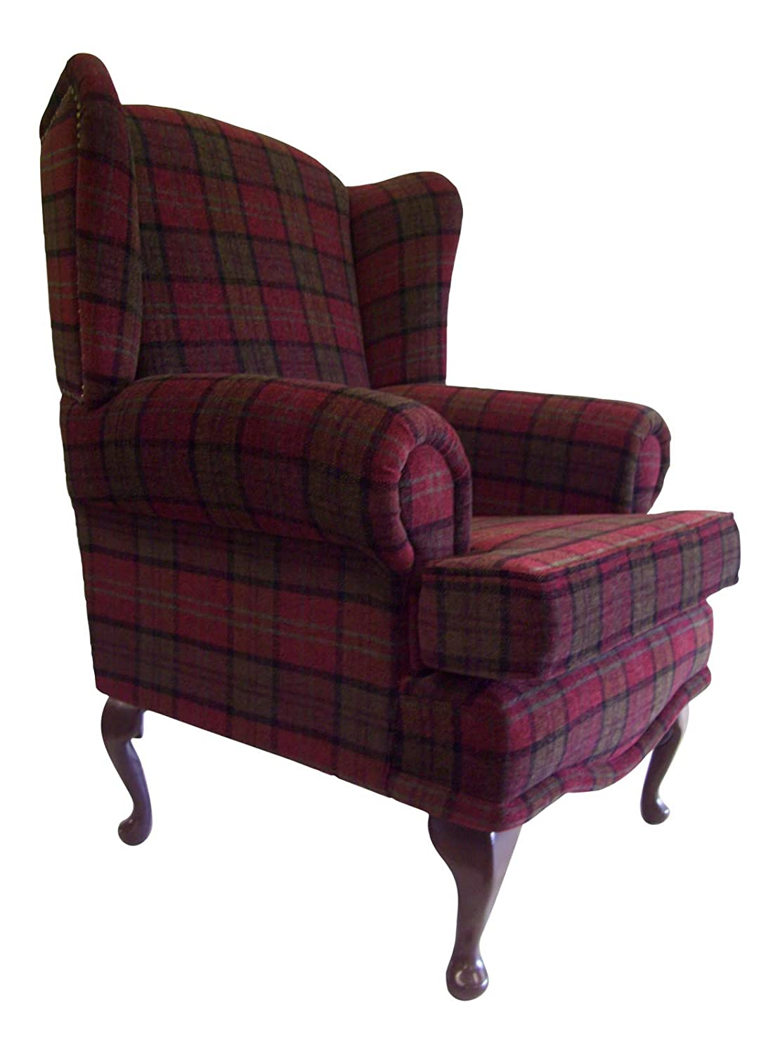Cottage/Wing Back/ Queen Anne Chair In Burgundy Lana Tartan On QA Legs:  Amazon.co.uk: Kitchen U0026 Home