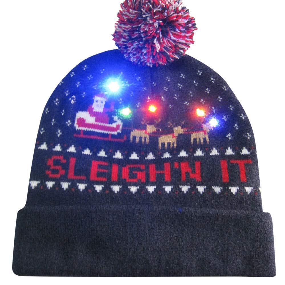 iHAZA Cappello Berretto di Natale Natalizio con Maglioncino Lavorato a Maglia con Luce LED