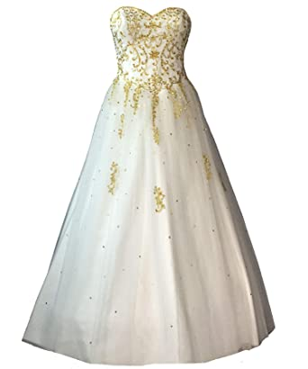 Lemai Sweetheart Gold Embroidery Beaded Long A Line Tulle White Prom