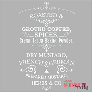 Roasted and Ground Coffee Vintage French Country Kitchen Stencil Best Vinyl Large Stencils for Painting on Wood, Canvas, Wall, etc.-S (7