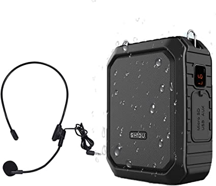 SHIDU M800 Wired Voice Amplifier,Protable PA System with wired headset microphone Bluetooth Rechargable Speaker For Teaching Training,