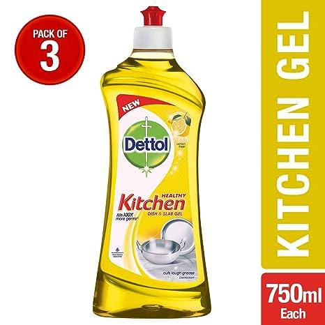 Dettol Germ Protection Kitchen Dish and Slab Gel - 750 ml (Lemon Fresh, Pack of 3)